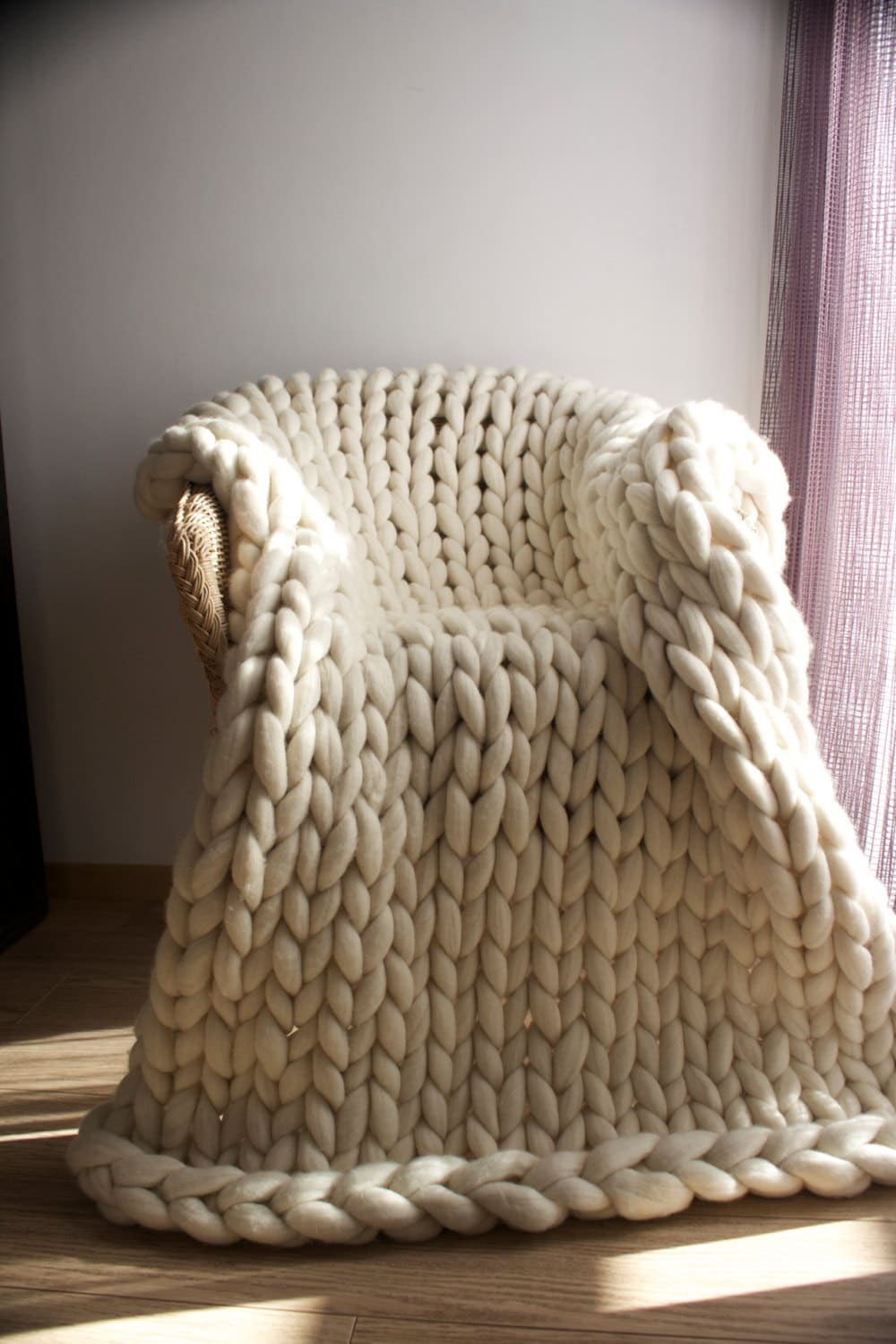 Chunky knit throw Merino wool Wool throw Chunky blanket