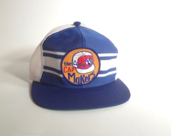 vintage snapback / blue and white baseball hat / baseball hat with patch / two toned trucker hat