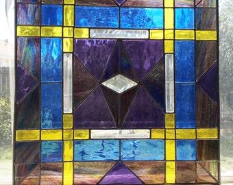 Purple and blue panel