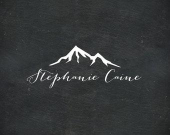 Premade Logo Design, Handwritten Logo, Mountain Logo, Photography Logo, Calligraphy Logo