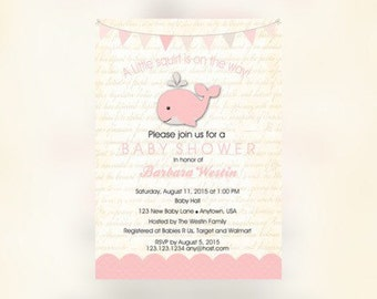 Whale Baby Shower, Girl Whale Baby shower, Pink Whale Invitation, Nautical Baby Shower, Whale Baby Shower, Whale Invitations, Invitations