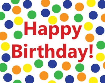 Printable Dot Birthday Card