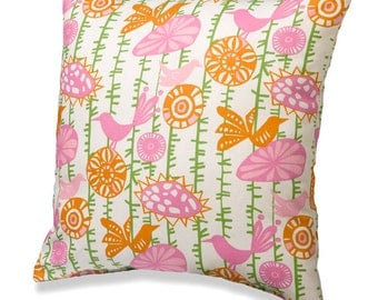 Pink and Orange Birds on a Vine Throw Pillow