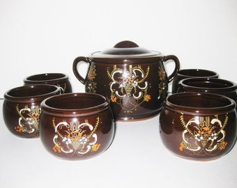 Vintage Redware Rice Set Moriage Brown Glaze- Pot and 6 bowls-1930s to 1940s -#216