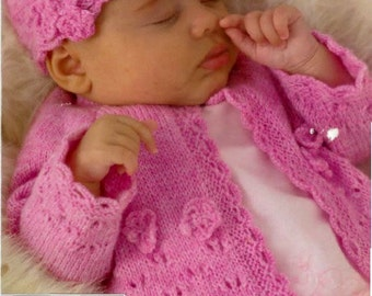 Knitting Pattern Baby Girls Cardigan Childs jacket Hat and Shoe PDF Instant Download Nr.34