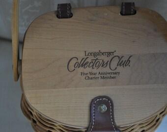 Longaberger Collectors Club Basket Five Yera Anniversary
