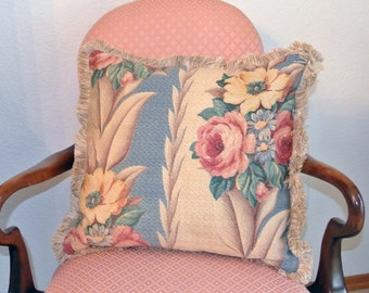 Vintage Glen Court Barkcloth Fabric Pillow