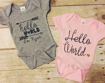 Hello world baby bodysuit, birth announcement, baby shower gift