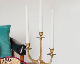 Vintage Mid Century Brass Three Candle Candelabra
