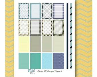 Blue and Cream Classic HP Planner Stickers