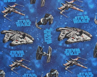 Star Wars Fabric, Star Wars Fighters Fabric, Millenium Falcon, X-wing Fighter, Tie Fighter Fabric, Fabric by Carmelot Fabrics, Fat Quarter