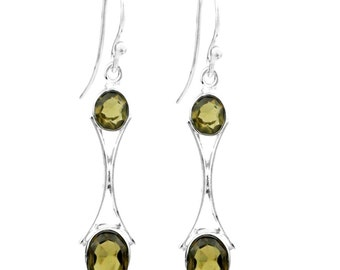 Faceted Smoky Quartz Drop Sterling Silver Earrings