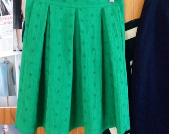 Pleated Spring Green Eyelet Skirt (Size 12)