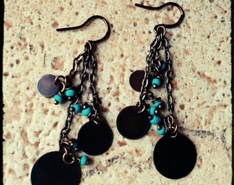 Bronze Drops - Triple Disc Earrings with Turquoise Seed Beads on Staggard Bronze Chain - Boho// Modern//OOAK - Gift for Her