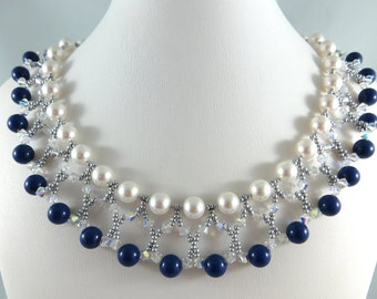 Petrol Blue and White Pearls Necklace and Bracelet Set