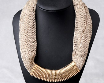 Fabric necklace and gold plated