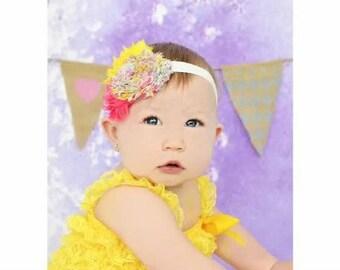 Hot Pink Yellow Floral Vintage Headband - Baby Bow - Flower headband - vintage headband - Spring  - Summer - hair bow - toddler headband