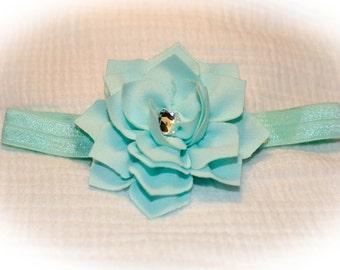 Blue Lotus Flower Baby Headband with Rhinestone Center on Matching Elastic, Baby Shower Gift, Baby Photo Prop