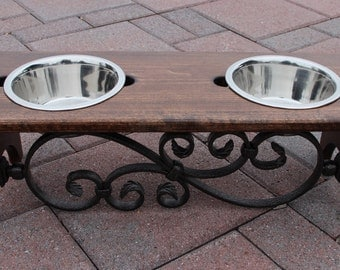 6 inch tall handmade raised dog feeder with decorative iron scroll.