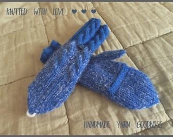 Hand Knitted Convertible Fingerless Mittens