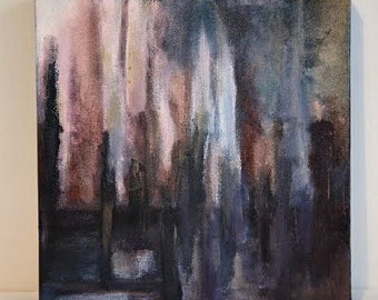 Original Abstract Cityscape Acrylic Painting
