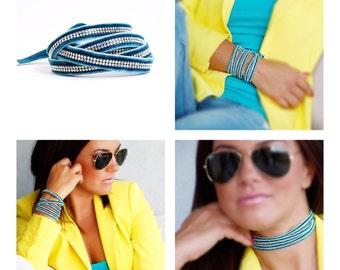 Turquoise wrap versatile bracelet with swarovski crystals