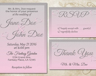 Printable Customized Pink & Grey Wedding Invitation Set