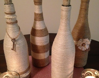 Wine Bottle Décor-Jute Wine Bottles