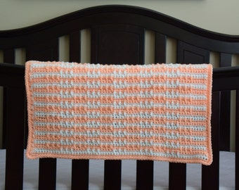 Peach & White Baby Afghan Lap Blanket for the Nursery, Baby Shower, Newborn Photo Prop