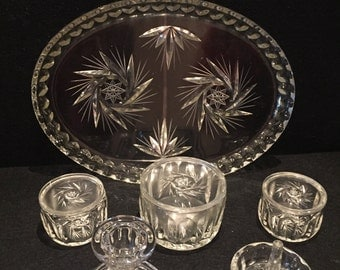 Vintage Art Deco Clear glass dressing table set, 6 pieces.