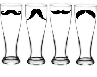4ct Beer Mustache- Mustaches- 17oz Beer pilsner, MANY COLORS