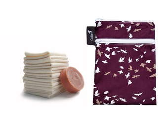 Ready to ship - Mini wet dry bag with two zippers, PUL liner (birds) and 5 organic cotton washcloths