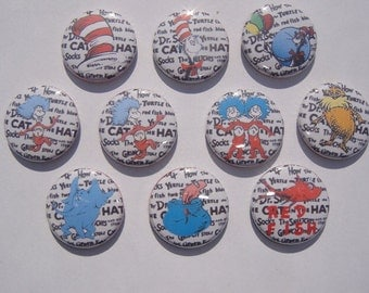 Dr Suess Themed Buttons Set of 10
