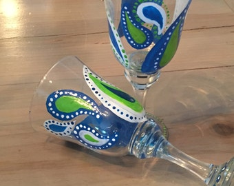 Blue and Green Hand-painted Paisley Wine Glasses