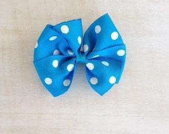 Turquoise and White Polka Dot Pinwheel Bow