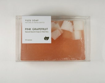 Pink Grapefruit - Glycerin Aloe Vera Soap, Natural Soap, Glycerin Soap, Grapefruit Soap, Pink Soap