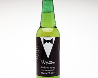 6 pcs Tuxedo Will You Be My Groomsman Personalized Beer Bottle Labels - JM890612
