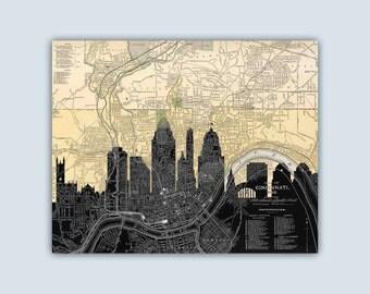 Cincinnati Skyline, Personalized Skyline Print, Cincinnati Art Print, Cincinnati Poster, Cincinnati Map, Cincinnati Wall Art