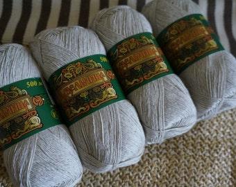 Linen & Cotton Yarn. Set of 4 skeins