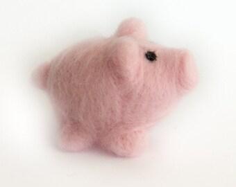 Wool Pig // Needle Felted Miniature // Nursery Decoration