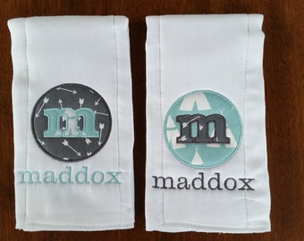 Personalized Diaper Burp Cloths Set of 2 - Classic Circle