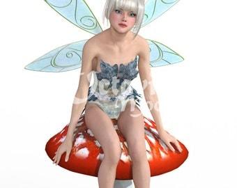 Digital Fairy Sitting - Blue Fairy life like 3d fairy download