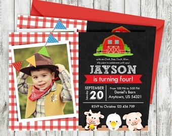 Farm Photo Invitations, Old McDonald Invitations, Country Birthday Party, Chalkboard Farm Birthday Invitation, Personalized Printable