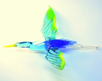 Glass Flying Heron Figurine Hanging