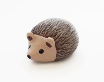 Brown hedgehog polymer clay miniature animal figurine