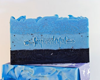 Stormy Night Activated Charcoal Poppy Seed Cold Process Soap Bar
