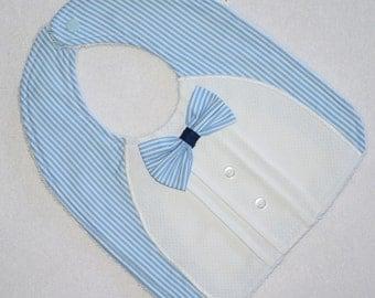 Boys Bib, Bowtie and Pintucks Bib, Bowtie Bib, Baby Boy Bib, Bib with Bowtie, Baby Boy Gift, Baby Shower Gift for Boys, Blue & White Stripes