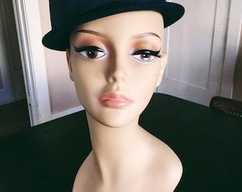 Midnight Navy Blue Wool Hat w/Grosgrain Ribbon Bow