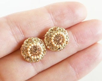 Sale Pink rhinestone stud earrings/ Stud earrings/ Bridal earrings/ Bridesmaid earrings/ Bridal jewelry/ Sparkle earrings/