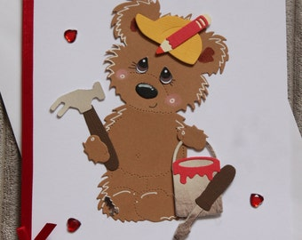 Farthers day card with teddy bear.